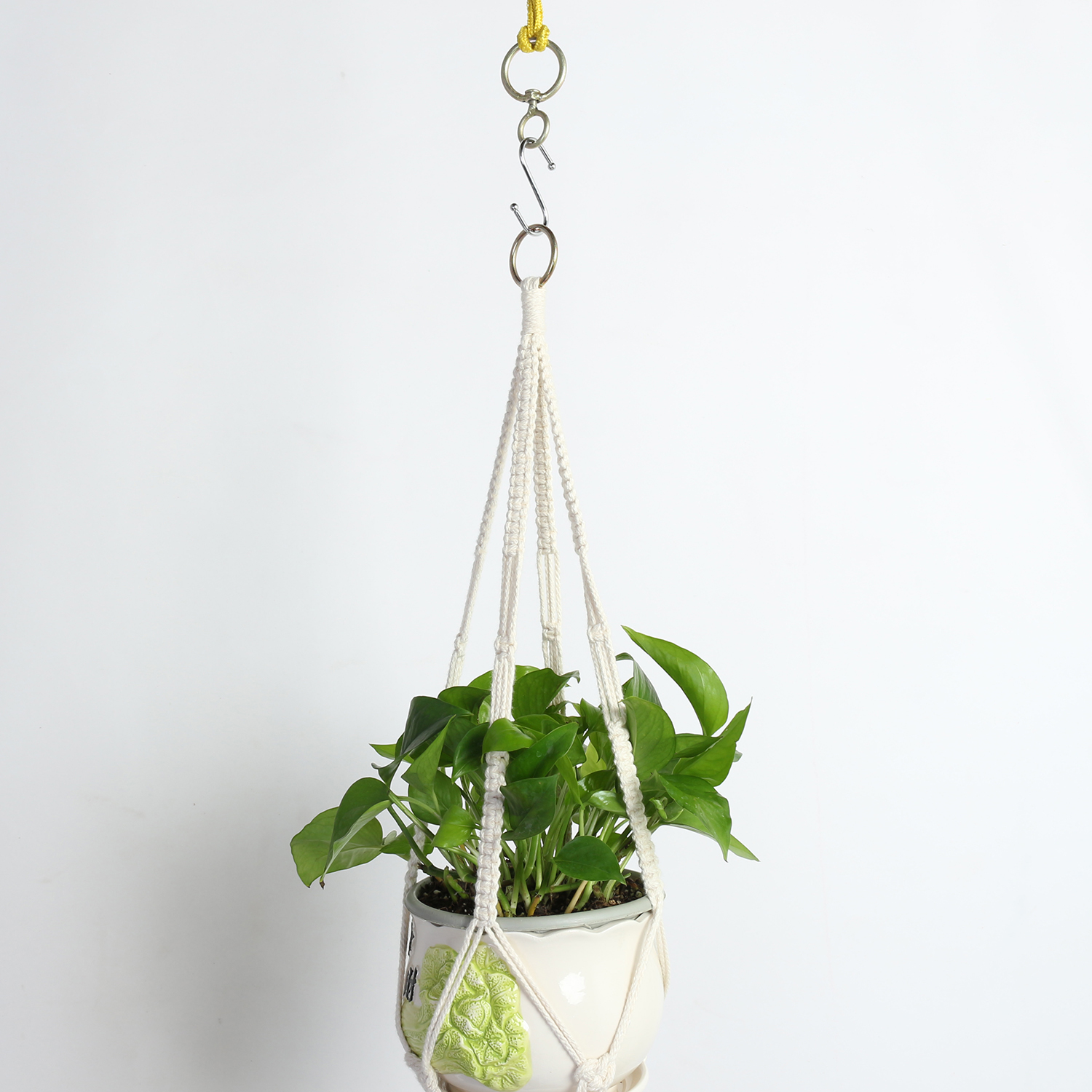 Double Tier Macrame Hanging Planter With Large Tassel Woven Interiors
